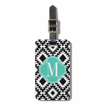 Aztec Themed Black & White Chic Aztec Tribal Monogrammed Luggage Tag