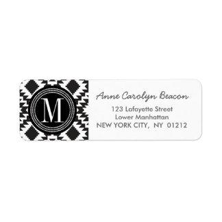 Black & White Chic Aztec Tribal Monogrammed Return Address Label