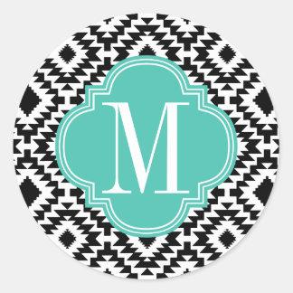 Black & White Chic Aztec Tribal Monogrammed Sticker
