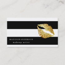 Black & White Chic Gold Lips - Makeup Artist Business Card