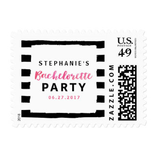 Black & White Chic Pink Bachelorette Party Postage