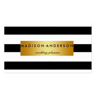 Black & White Chic Stripes in Gold Business Card