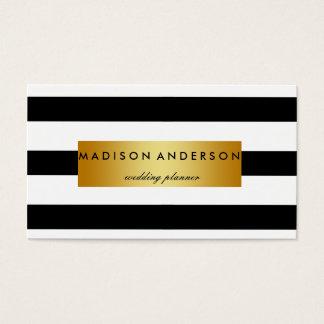 black u0026amp white chic stripes in gold business card