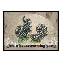 Black & White Chickens Housewarming Invitation