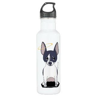 Black White Chihuahua Angel 24oz Water Bottle