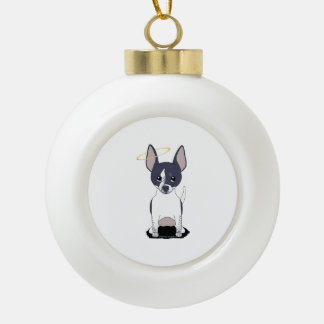 Black White Chihuahua Angel Ceramic Ball Christmas Ornament