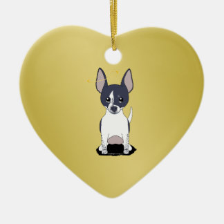 Black White Chihuahua Angel Double-Sided Heart Ceramic Christmas Ornament