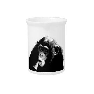 Black White Chimpanzee Beverage Pitcher