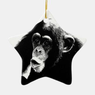 Black White Chimpanzee Ceramic Ornament