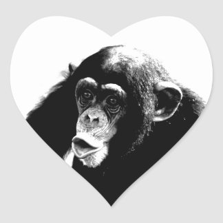 Black White Chimpanzee Heart Sticker
