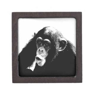 Black White Chimpanzee Jewelry Box