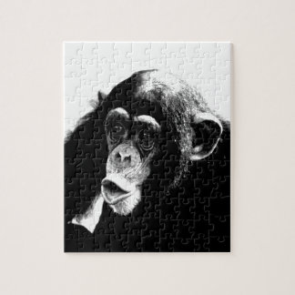 Black White Chimpanzee Jigsaw Puzzle
