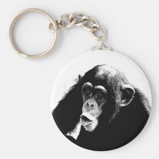 Black White Chimpanzee Keychain