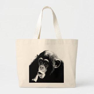Black White Chimpanzee Large Tote Bag