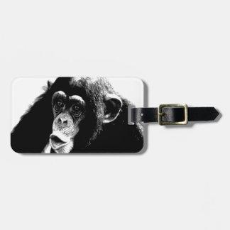 Black White Chimpanzee Luggage Tag