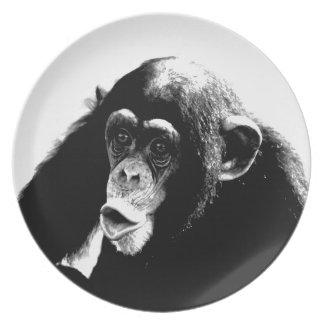 Black White Chimpanzee Melamine Plate