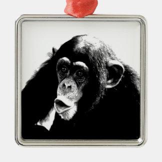 Black White Chimpanzee Metal Ornament