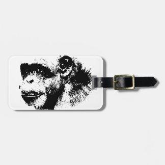 Black & White Chimpanzee Pop Art Bag Tag