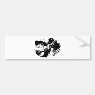 Black & White Chimpanzee Pop Art Bumper Sticker
