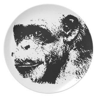 Black & White Chimpanzee Pop Art Dinner Plate