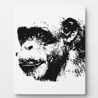 Black & White Chimpanzee Pop Art Plaque