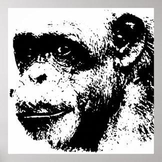 Black & White Chimpanzee Pop Art Poster