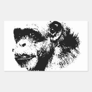 Black & White Chimpanzee Pop Art Rectangular Sticker