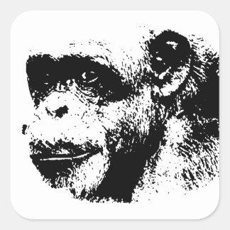 Black & White Chimpanzee Pop Art Square Sticker