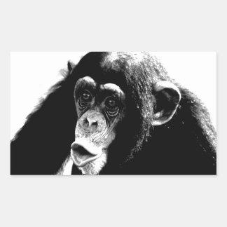 Black White Chimpanzee Rectangular Sticker