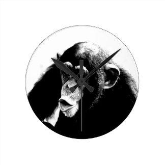 Black White Chimpanzee Round Clock