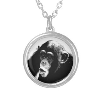 Black White Chimpanzee Silver Plated Necklace