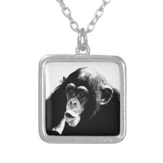 Black White Chimpanzee Square Pendant Necklace