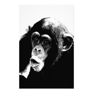 Black White Chimpanzee Stationery