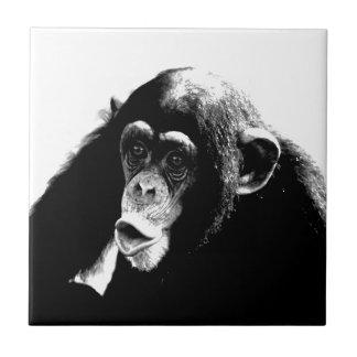 Black White Chimpanzee Tile