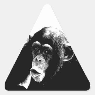 Black White Chimpanzee Triangle Sticker
