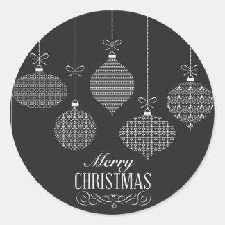 Black & White Christmas Ornament Sticker