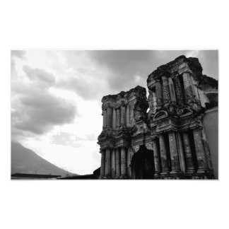 Black & white church in ruins, Antigua Guatemala. Photo Print