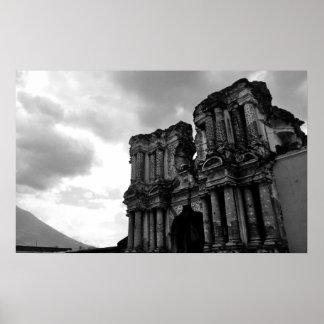 Black & white church in ruins, Antigua Guatemala. Posters
