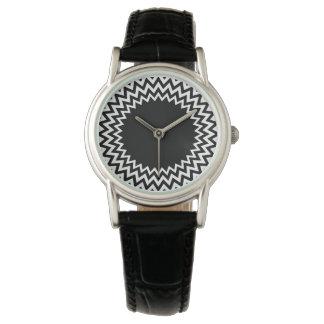 Black White Circle Chevron Wrist Watch
