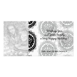black white circle crest damask design photo card template