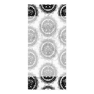 black white circle crest damask design rack card design
