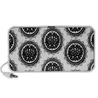 black white circle crest damask design mini speaker