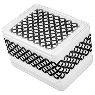 Black White Circles and Diamond Pattern Drink Cooler