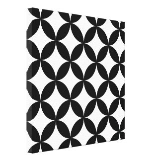 Black White Circles and Diamonds Abstract Pattern Canvas Print