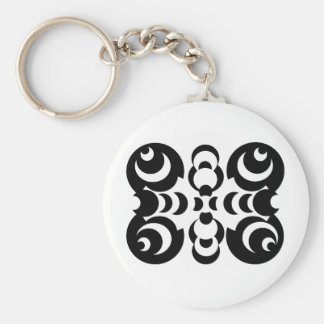 Black & White Circles Basic Round Button Keychain