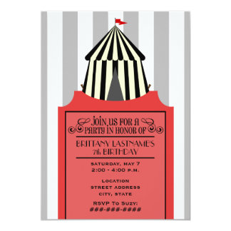 """Black & White Circus Tent with Red Ticket Birthday 5"""" X 7"""" Invitation Card"""