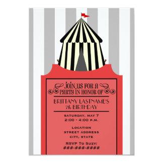 Black & White Circus Tent with Red Ticket Birthday Custom Invites