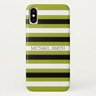 Black White Citron Modern Stripes iPhone X Case