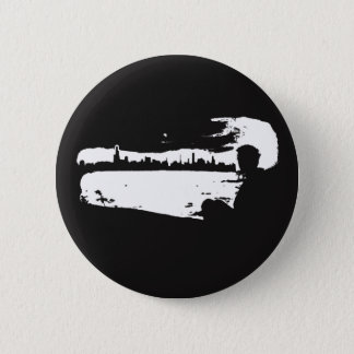 Black & White City Lookout - Button