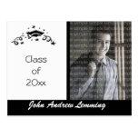 Black & White classic graduation photo template Post Card